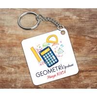 Geometri Öğretmeni Tasarımlı Anahtarlık