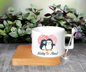 Aşık Penguenler Bambu Altlıklı Kahve Fincanı