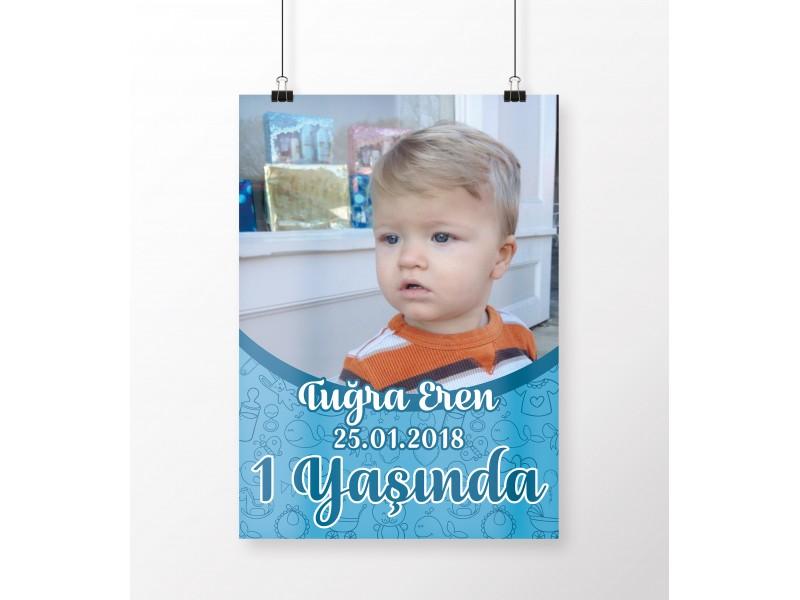 1 Yaş Erkek Bebek Doğum Günü Posteri