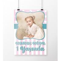 Doğum Günü Posteri Kız Bebek 1 Yaş Temalı