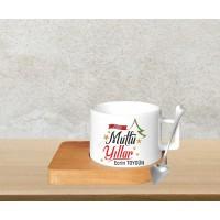 Mutlu Yıllar Tasarımlı Bambu Altlıklı Kahve Fincanı