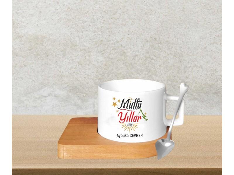 Yeni Yıl Tasarımlı Bambu Altlıklı Kahve Fincanı