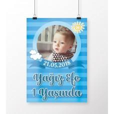 Doğum Günü Poster Erkek Bebek Bulut ve Güneş Konsept