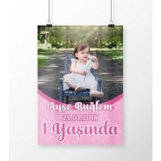 Doğum Günü Poster Kız Bebek 1 Yaş Temalı