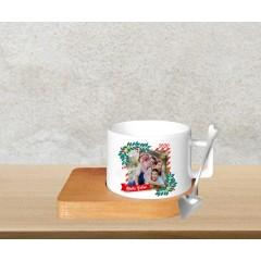 Fotoğraflı Yeni Yıl Tasarımlı Kahve Fincanı